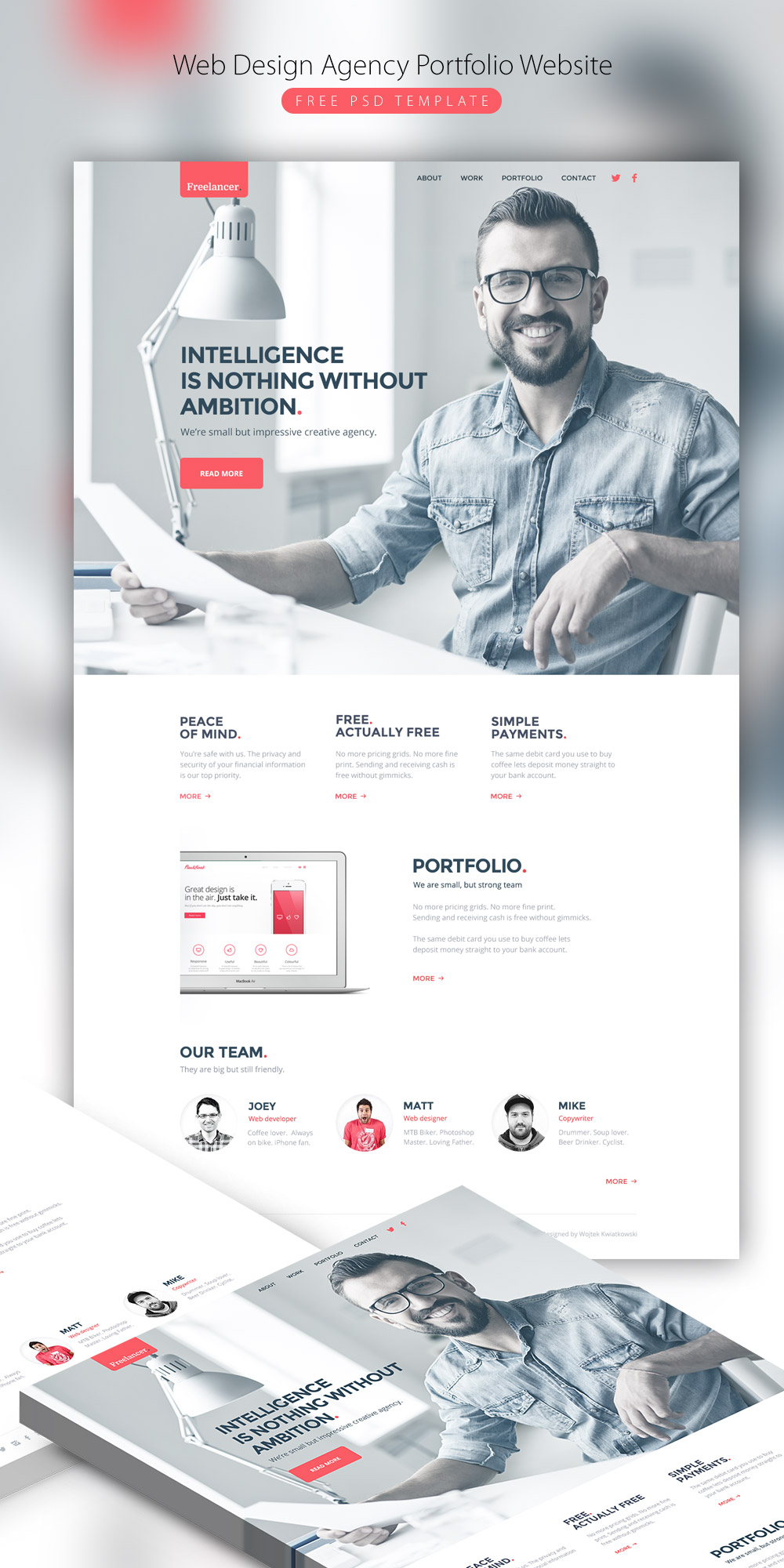 Web Design Agency Portfolio Website Free PSD Template