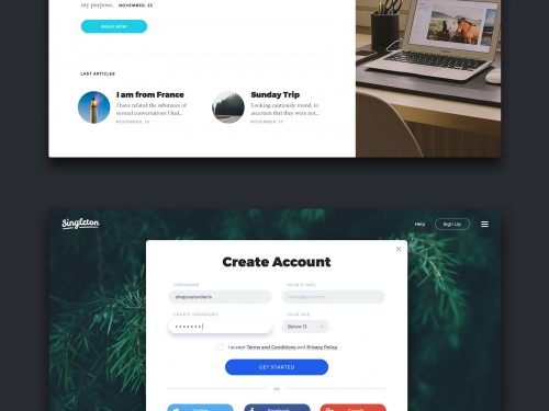 Website Landing Page UI Kit Free PSD