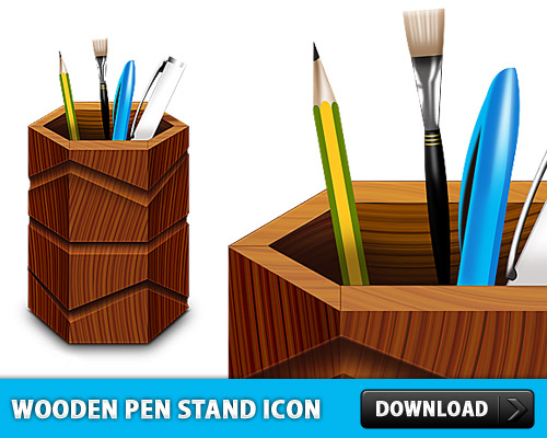 Wooden Pen Stand Icon PSD L