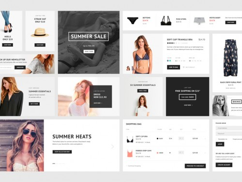 ECommerce UI Kit Elements Free PSD