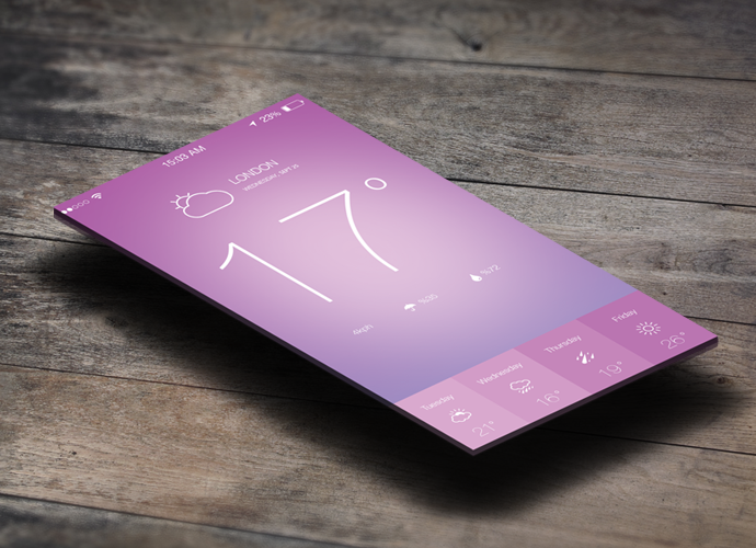 IOS 7 Weather App Design PSD