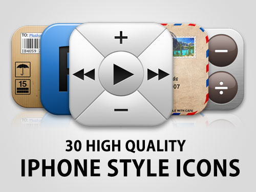 30 High Quality iPhone style Icon Set PSD