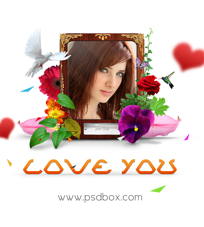 Love You Wallpaper PSD Template